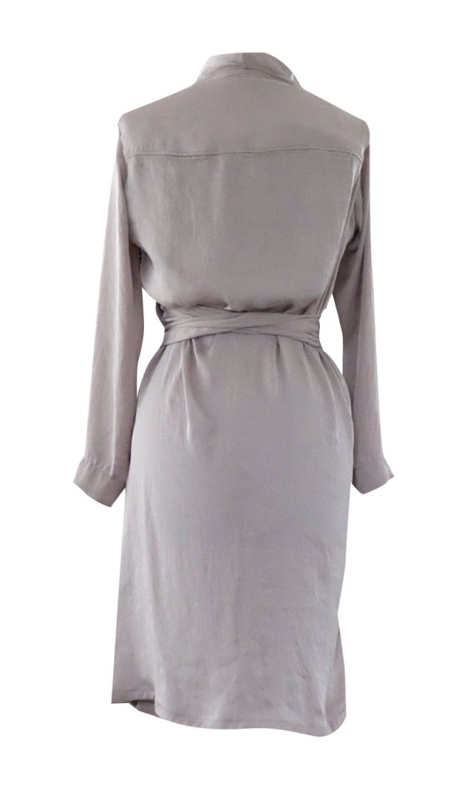 Beige Collar Drape Dress by British Steele