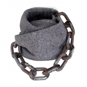 Gray Winter and Chains Infinity Scarf