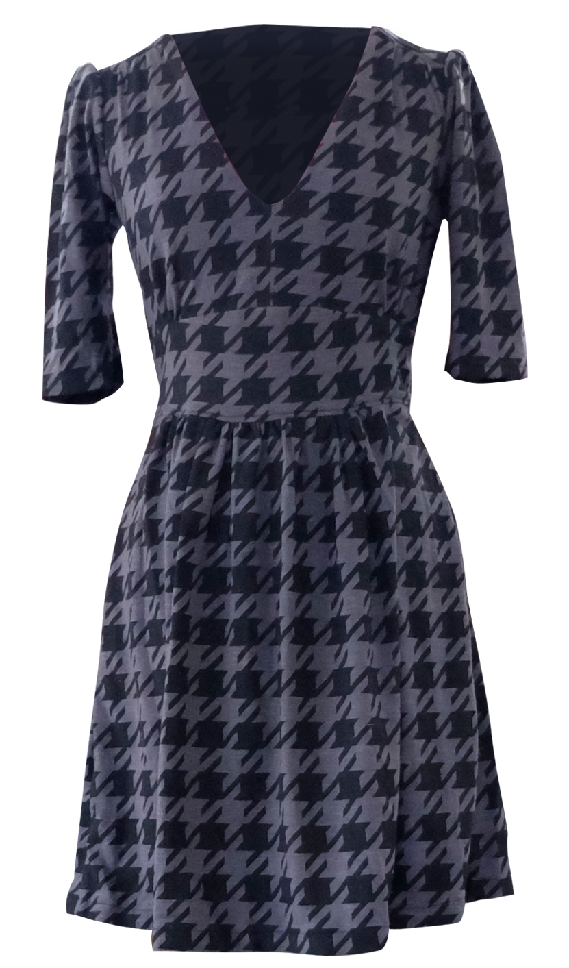 Blue and Black Herringbone Dress