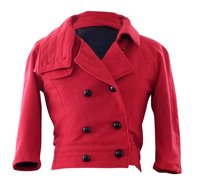 Cropped Red Wool Double Breasted Jacket