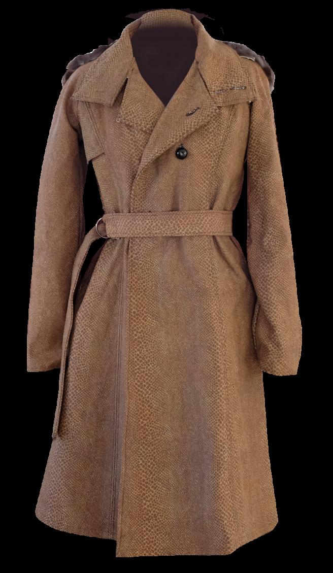 Brown Snake Skin and Fur Long Trenchcoat