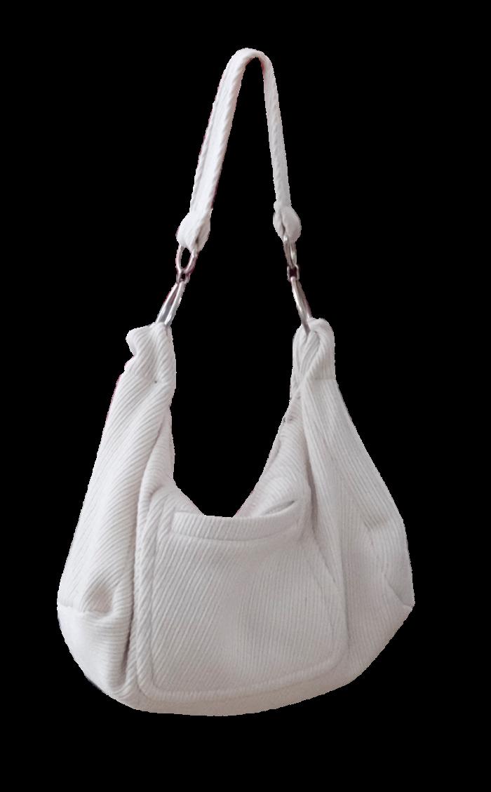 White Wool Hobo Bag by British Steele