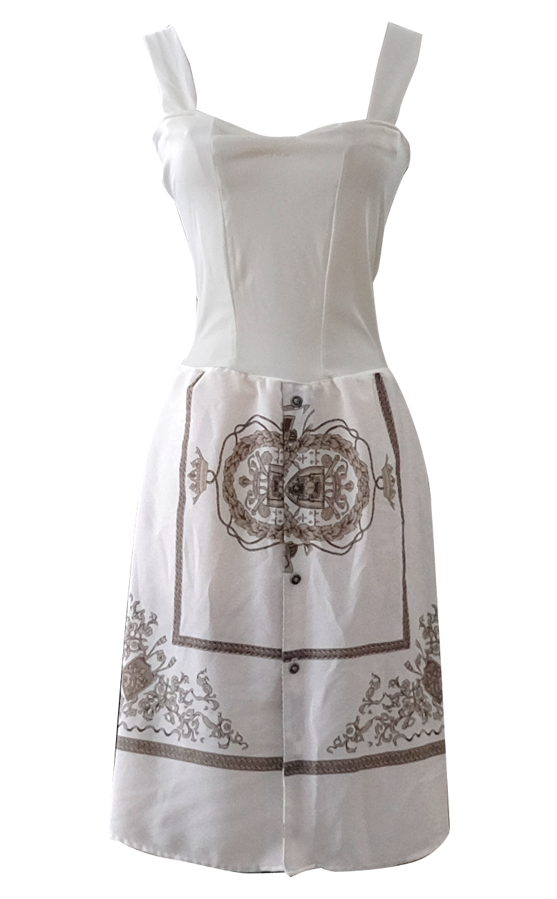 British Steele White Garden Scarf Dress