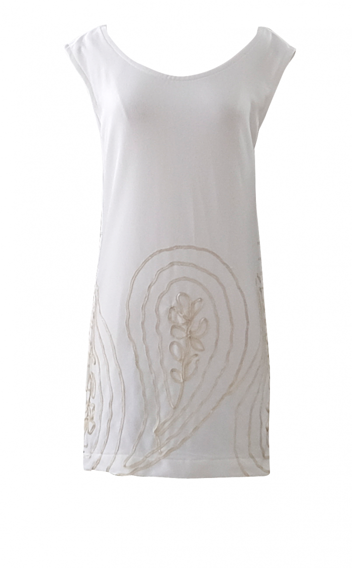 British Steele White Tunic Cap Sleeve Dress