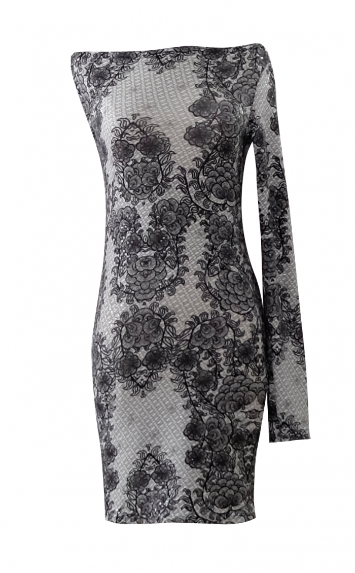 British Steele Black and White Lace One Shoulder Dress
