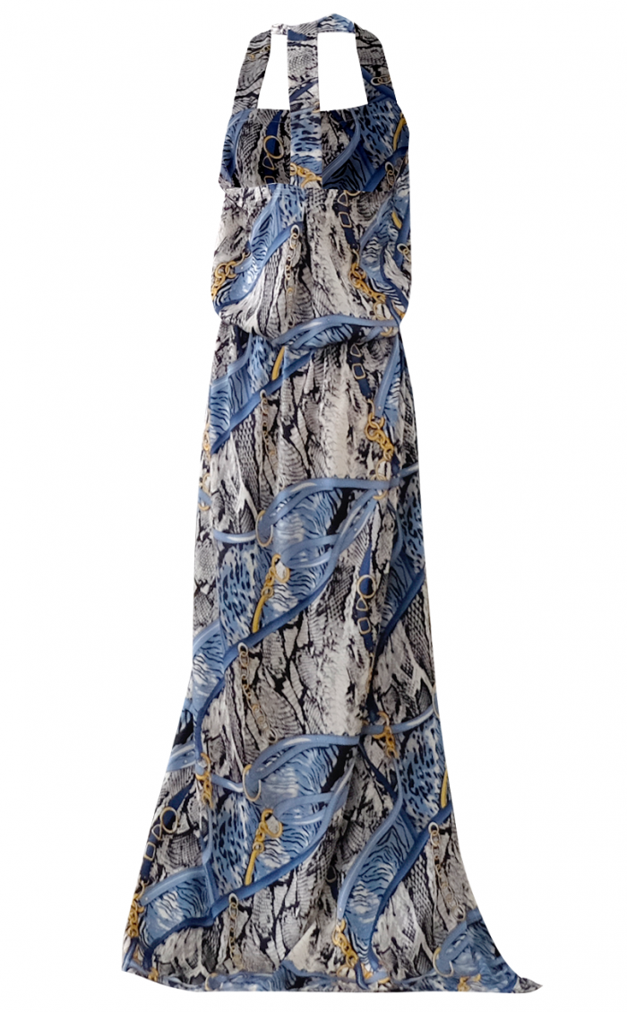 The Serpent and the Chain Nautical Maxi Dress