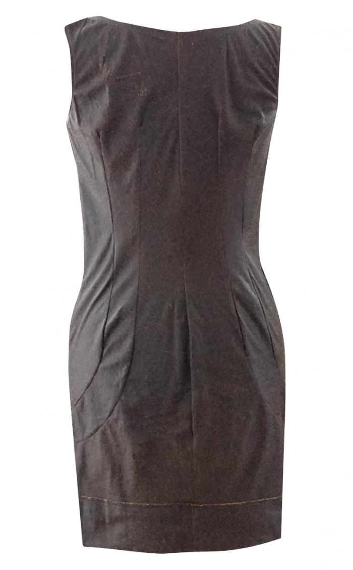 Brown Leather Shift Dress - British Steele