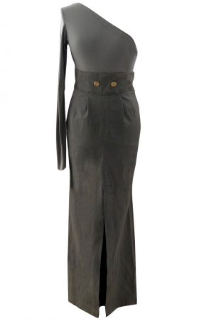 Army Green Maxi Cargo Military Skirt - British Steele