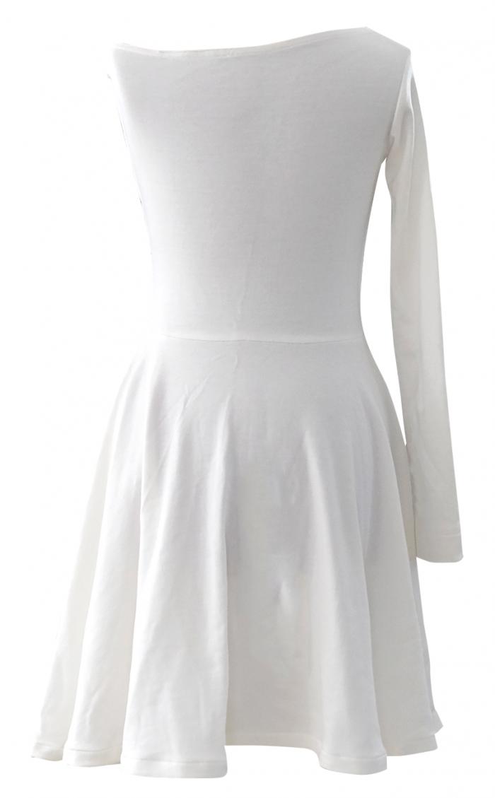 Winter White One Shoulder Skater Dress