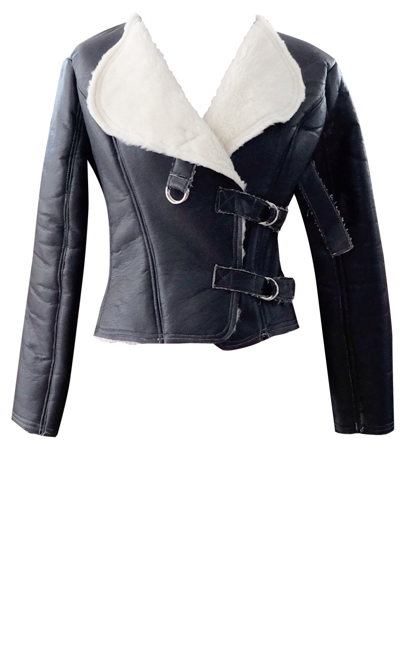 Black Faux Leather & Sherpa Motorcycle Jacket - British Steele