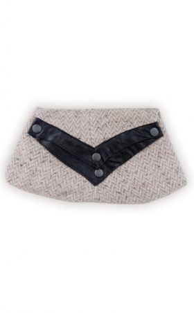 Wool and leather clutch