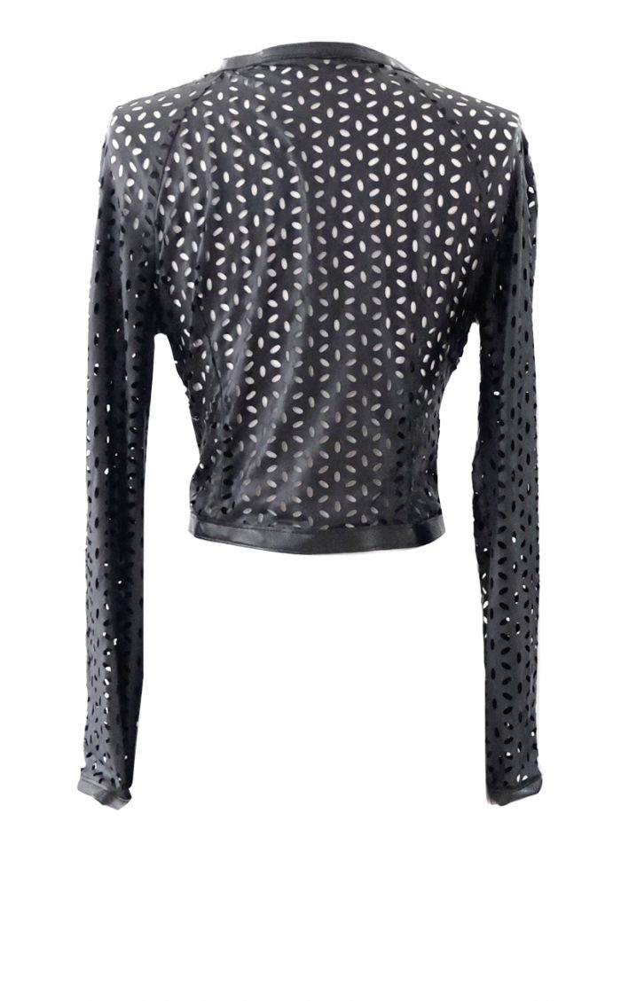 Laser Cut Faux Leather Cropped Jacket - British Steele