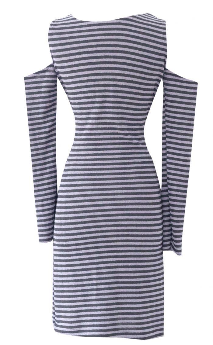 Striped Cold Shoulder Dress by British Steele
