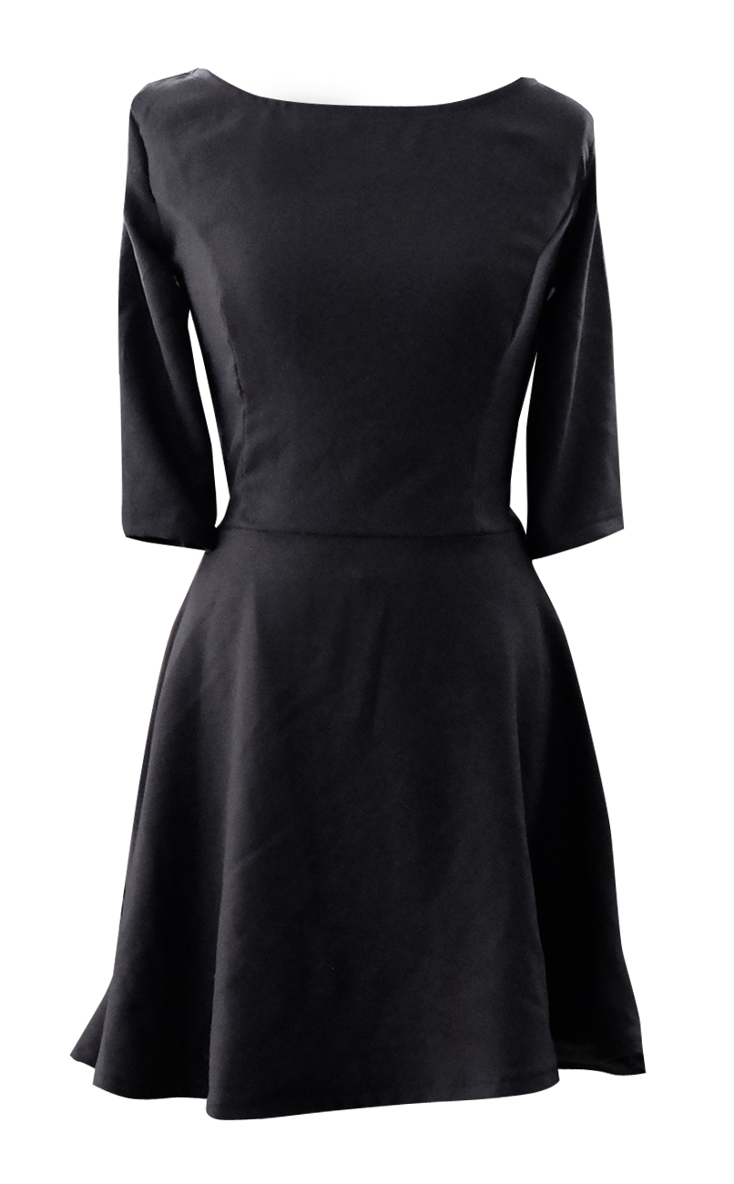 Three Quarter Black Skater Dress