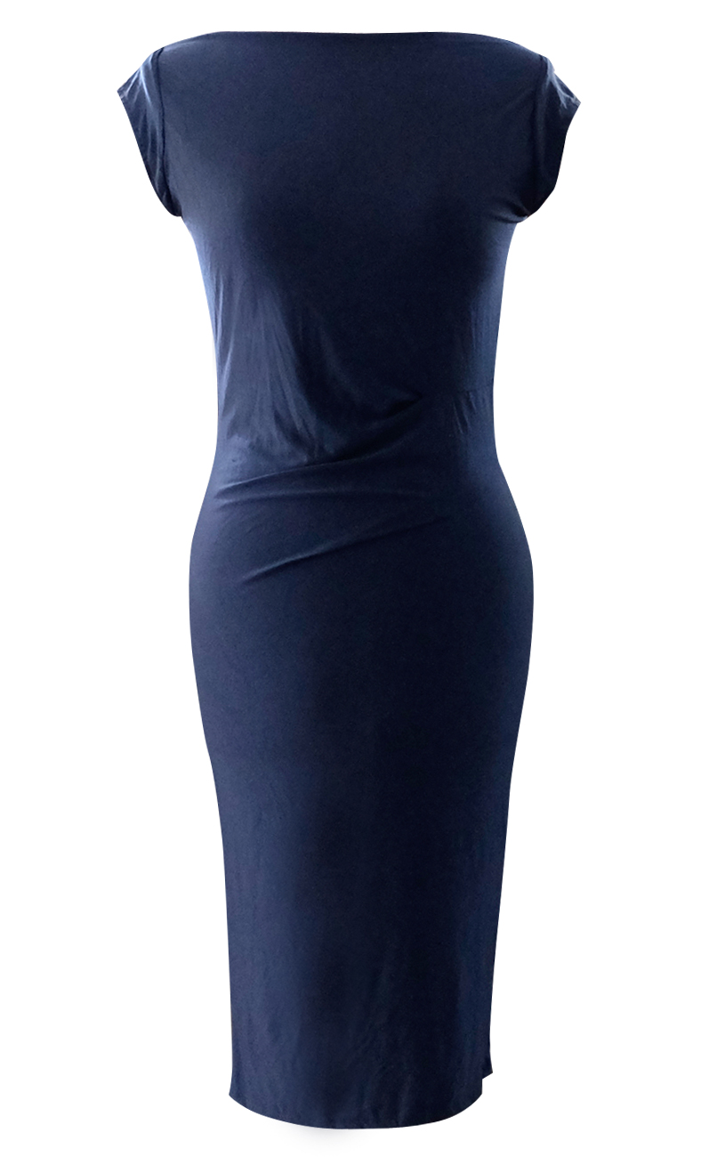 Navy Pencil Dress with Cap Sleeves