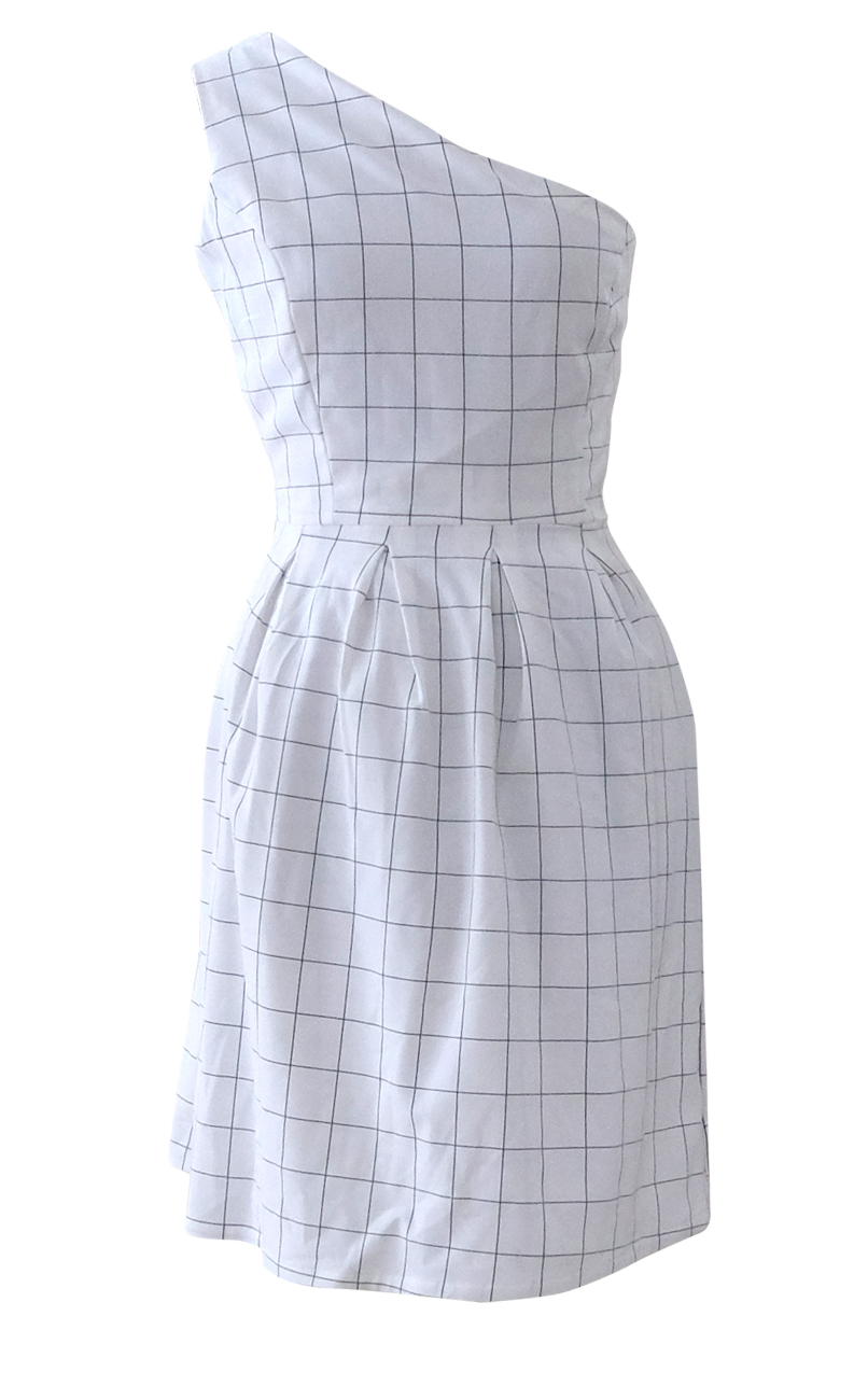 Asymmetrical Black and White Plaid Dress
