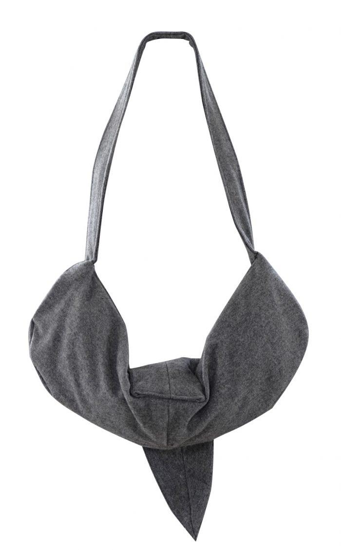 British Steele Gray Hobo Wool Bag