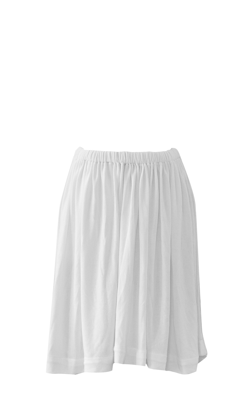 Full Circle Gathered White Soft Skirt by British Steele