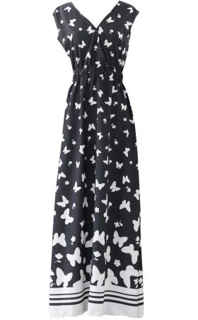 Black and White Butterfly Flowy Maxi Dress by British Steele