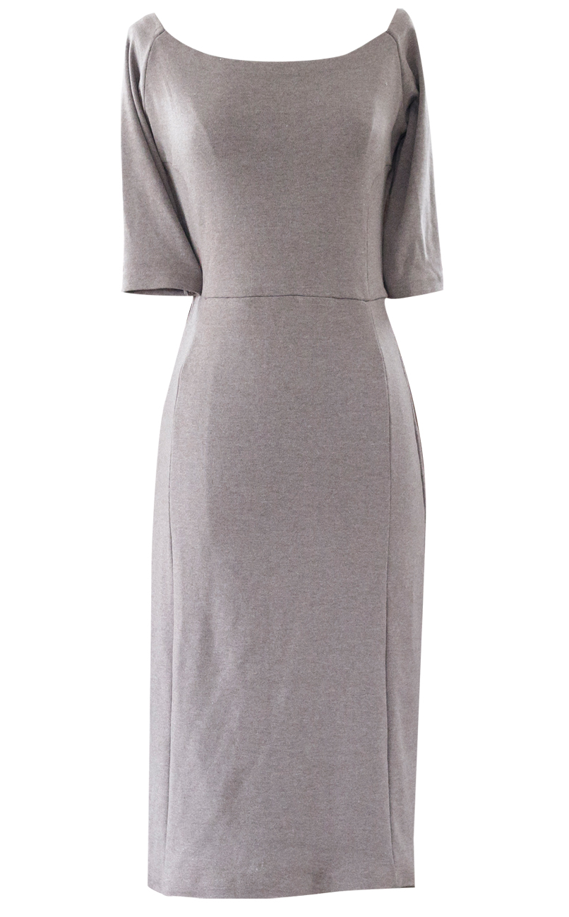 Victoria French Brown Fitted Pencil Dress - British Steele
