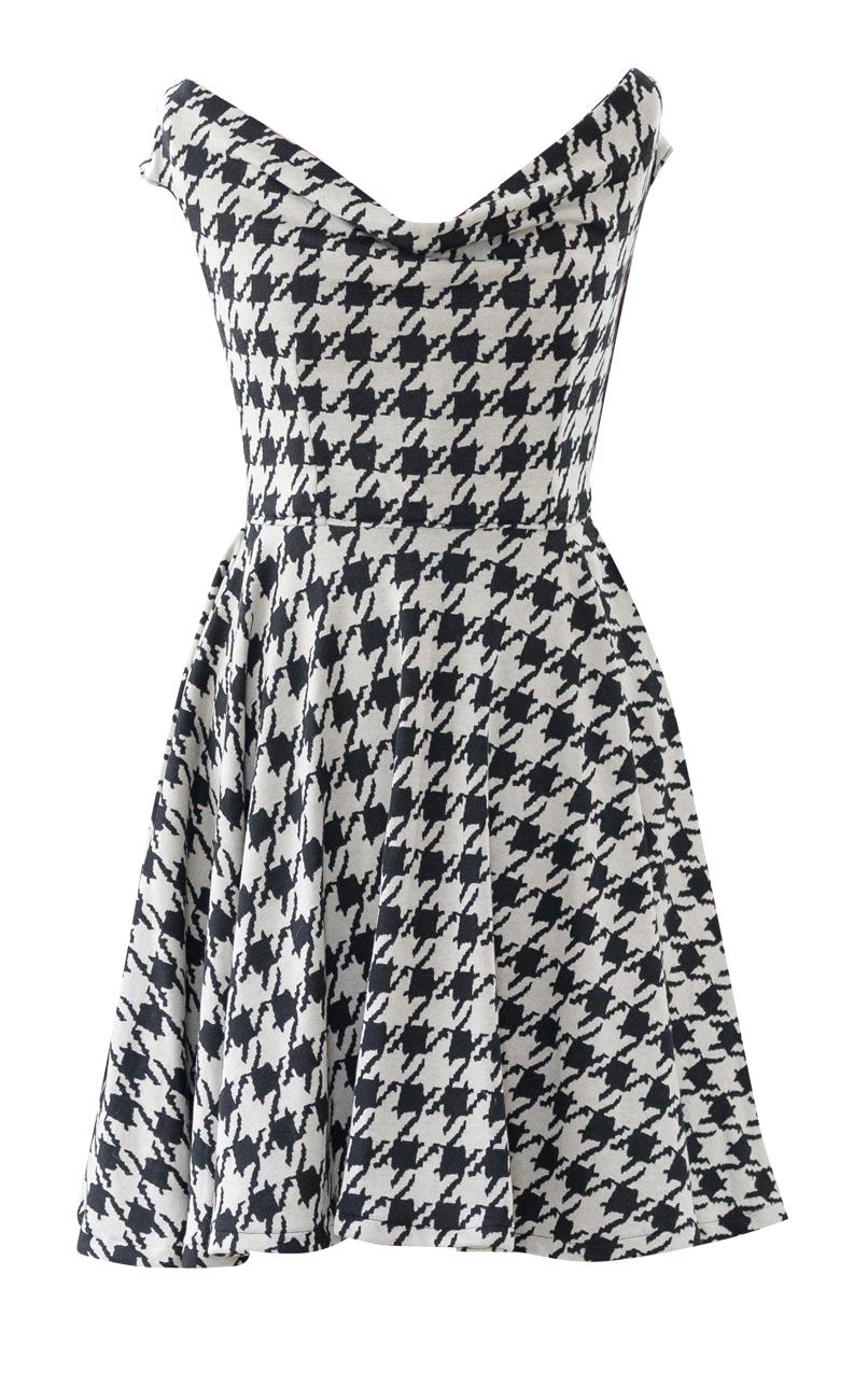 Herringbone Off The Shoulder Full Circle Dress
