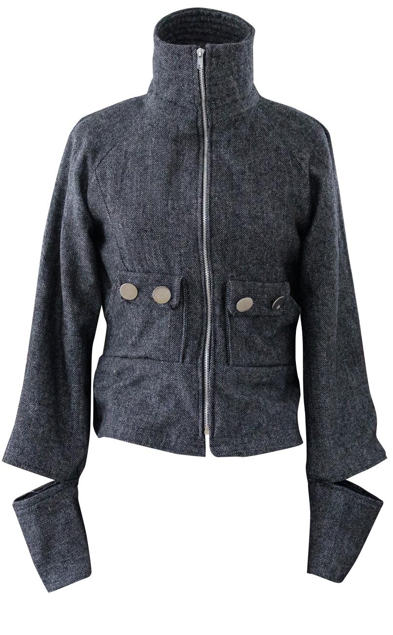 Hijacked High Collar Wool Motorcycle Jacket